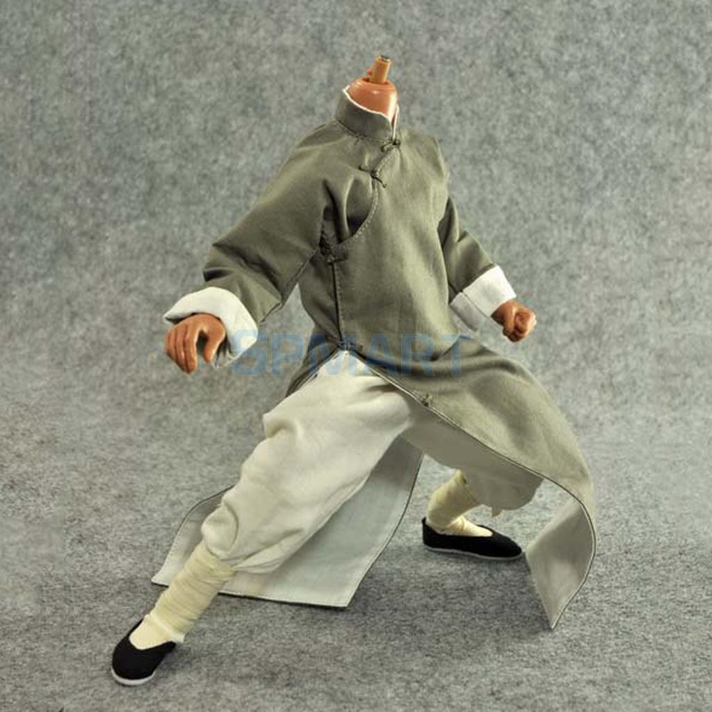 1/6 Scale Long Sleeves Chinese Kung Fu Master Yep Man Costume Suit Robe Set For 12 Hot Toys Enterbay Bruce Action Figure