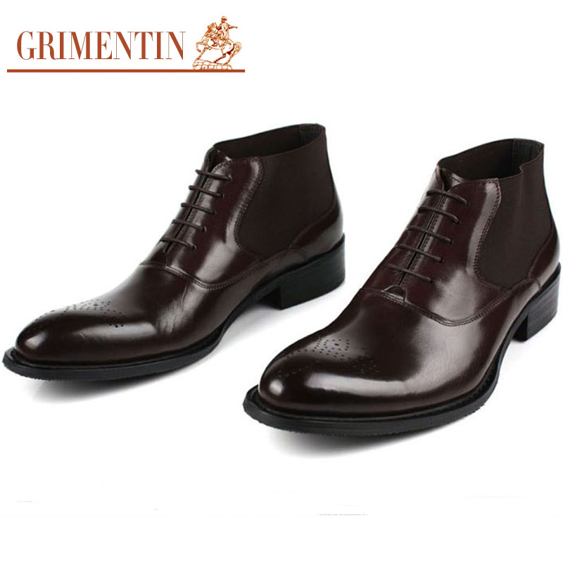 cfb3853350f US $209.0 |GRIMENTIN Fashion Handmade Italian Men Ankle Boots Genuine  Leather Black Brown Carved Winter Shoes Men Offical Dress Shoes B227-in  Basic ...