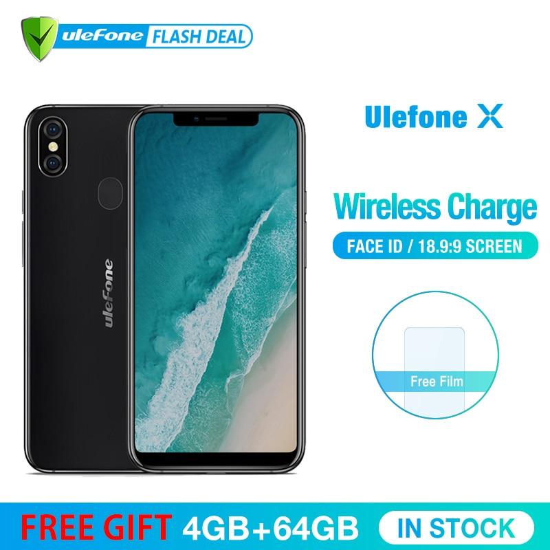 Ulefone X 5.85 HD + Smartphone MT6763 Octa base Android 8.1 4 gb + 64 gb 16MP Double Arrière cam 3300 mah Sans Fil Charge Téléphone