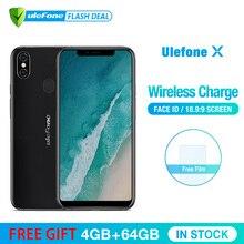 Ulefone X 5.85 «HD + смартфон MT6763 Octa Core Android 8.1 4 ГБ + 64 ГБ 16MP двойная основная камера 3300 мАч Беспроводная зарядка Мобильный телефон