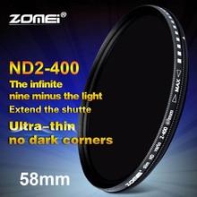 Zomei 58 мм фейдер переменный ND фильтр Регулируемый ND2 до ND400 ND2-400 нейтральной плотности для Canon NIkon Hoya sony Объектив камеры 58 мм