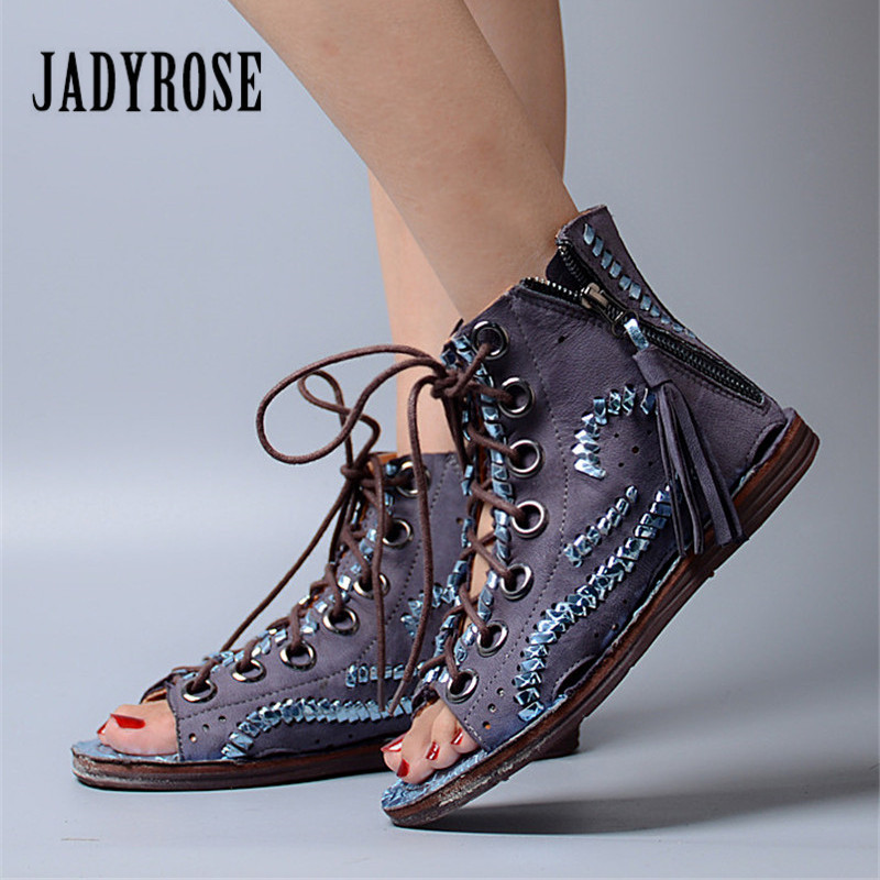 Jady Rose 2018 New Peep Toe Women Summer Boots Lace Up Flat Gladiator Sandals Tassels Hollow Out Women Ankle Boots Casual Flats sweet hollow out and lace up design women s sandals
