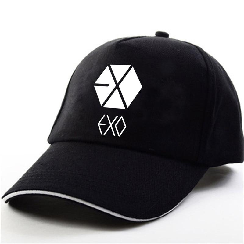 YOUPOP KPOP EXO THE WAR Wolf EXACT EXODUS  Album Baekhyun Chanyeol Black Baseball Cap Hip-hop Cap Men Women Hats jyj 2nd album vol 2 just us release date 2014 7 30 kpop