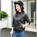 Brand leather jackets women 2016 Luxury  slim designer clothing Genuine sheepskin black/dark blue short coat free shipping 16234