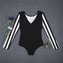 Summer One-Piece Jumpsuit Body Top Sexy Romper Cartoon Bodysuit Women Long Sleeve Women Striped  Jumpsuit Playsuit With Button
