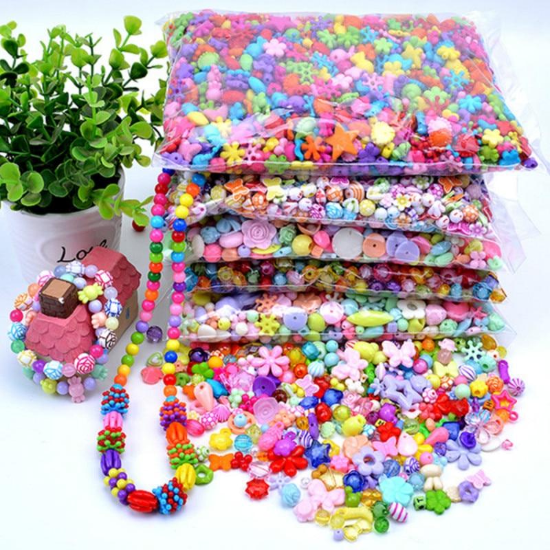 100g/set(300-400beads) Train Eye Exercises Plastic Bead Kit DIY Toys Jewelry Handmake Kids Early Educatinon Gifts For Girl