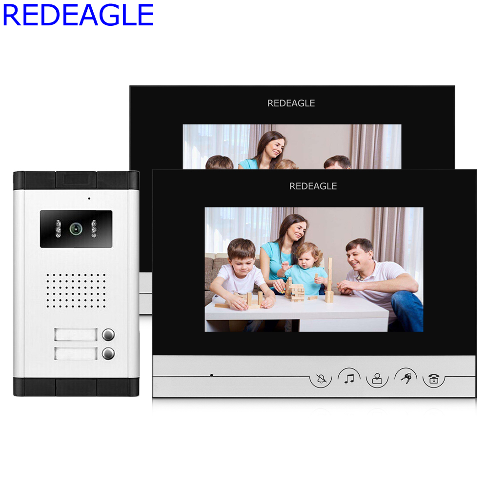 REDEAGLE Apartment Intercom 7 inch LCD Screen Video Door Phone Intercom System 2 Button Call Key Cameras for House Family Unlock free shipping 7 lcd screen video intercom apartment door phone system 2 monitors rfid unlock access door camera for 2 family