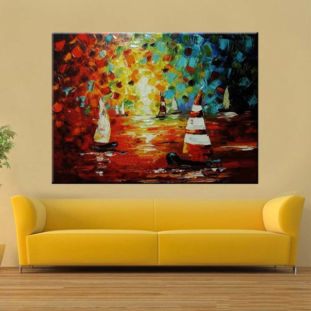 Hand Painted Abstract SailBoat Seascape Canvas Wall Oil Painting ...