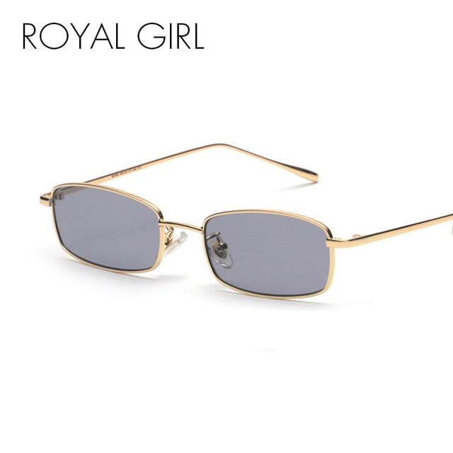 b258bbe79c ROYAL FILLE Rétro Rectangle lunettes de Soleil Hommes Femmes 2018 Nouveau  Petit Métal Cadre Objectif Clair