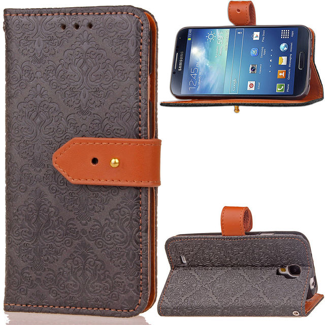 new product 2c35b 88bbf US $6.64 5% OFF|S4 Medieval Retro Pattern Style Wallet Case for Samsung  Galaxy S4 Covers Flip Leather Cases Black Cover 4s SM i9500 Samsung4-in  Wallet ...