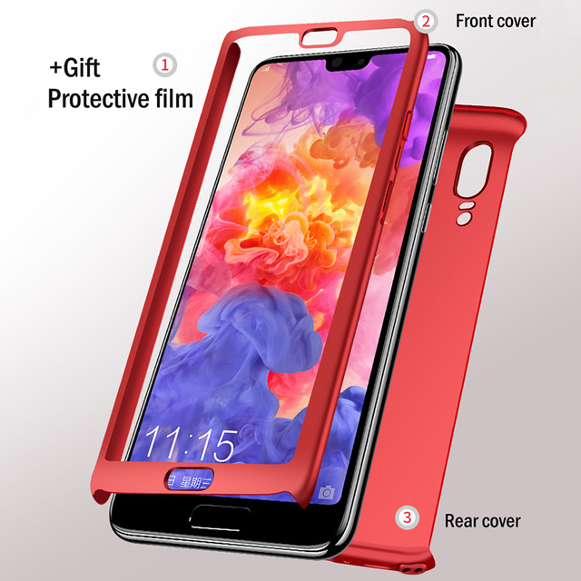 Luxury 360 Full Cover Phone Case For Huawei P20 Lite P20 Pro P10 Plus Cover Case For Honor 9 8 10 lite Case With Glass Film