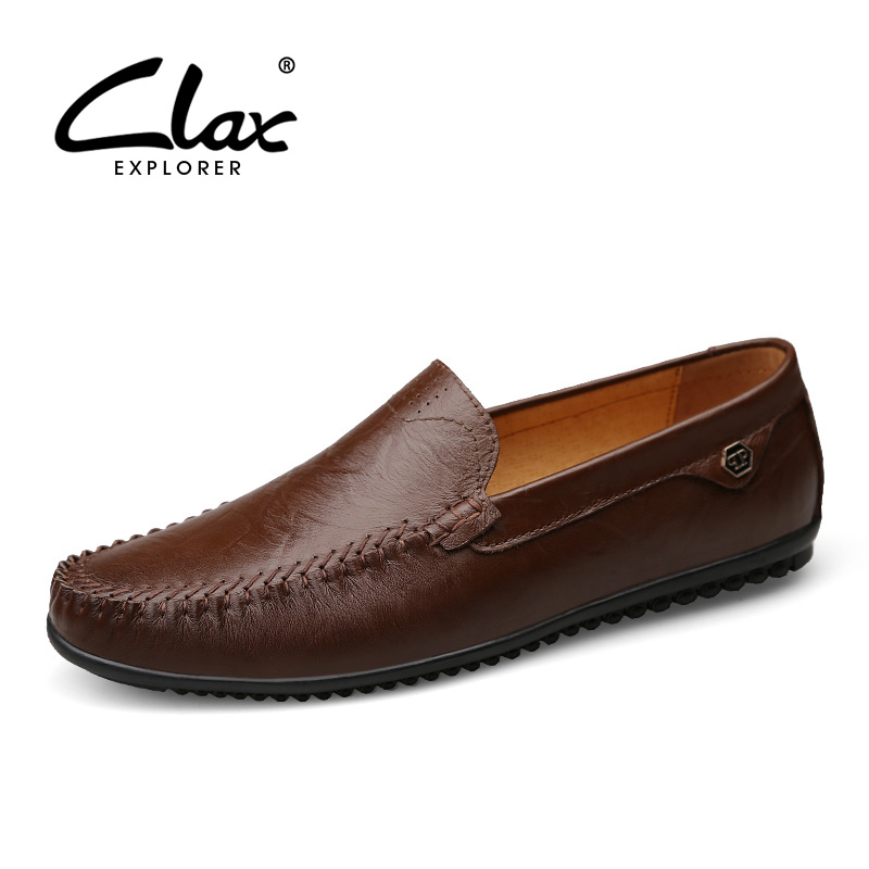 CLAX Men Casual Leather Shoes 2017 Autumn Shoes Genuine Leather Male Loafers Designer Flats Moccasin Boat Shoes Dress Shoe simfer b6em13001