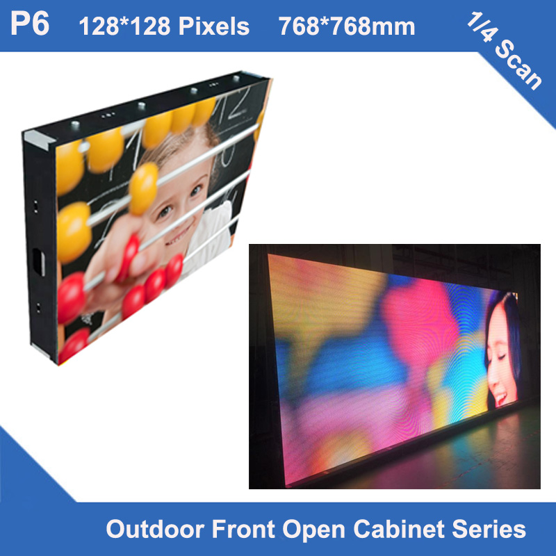 TEEHO MANUFACTUERLED Display Outdoor P6 Fixed Installation Waterproof Cabinet 768mm*768mm 128*128 Dots 1/4 Scan Led Module Panel