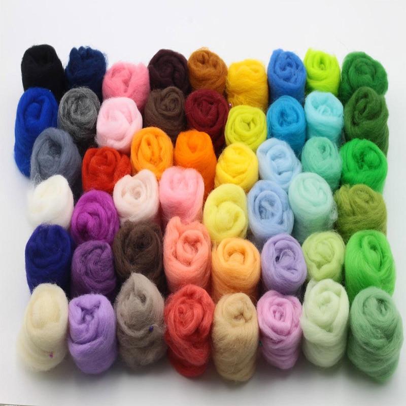 Rushed Wool Felt 36/50 Colors Wool Fibre Roving For Needle Felting Hand Spinning Diy Fun Doll Needlework Poke 3g/bag