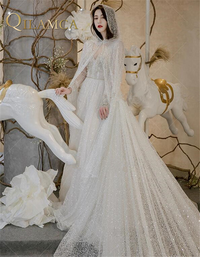 Custom Made Crystal Sequins Luxury Wedding Dresses Sexy Formal Arabic Long Party Dress Robe De Soiree