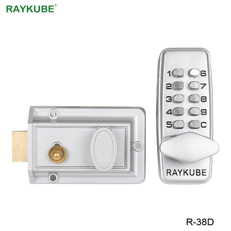 Código de Bloqueio Mecânico RAYKUBE Digital Keyless Senha fechadura Da Porta de Entrada Para A Porta De Madeira de Zinco Liga de Prata R-38D