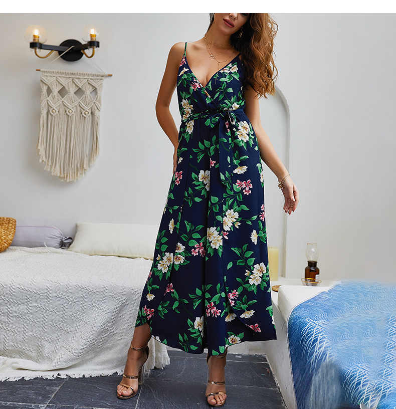 Women Lace Up Floral Print Jumpsuit 2019 Summer Casual Loose Style Wide Leg  female Beach Jumpsuits Rompers Female Overalls