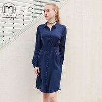 Margin Slim Waist Women Blue Dress Turn Down Collar Long Sleeve Sashes 2018 Spring Temperament Casual