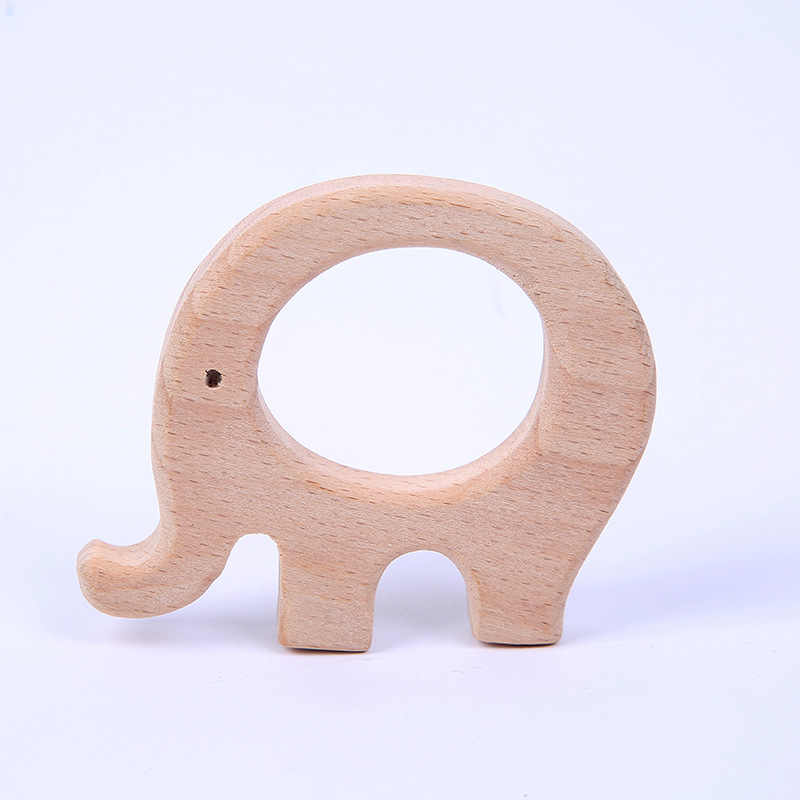 Lovely Cartoon Wood Teether 1Pc Pure Natural Animal Shaped Baby Teething Nursing Beech Teether Baby Girl DIY Pendant Toy