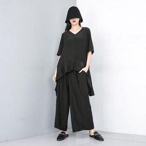 Image 2 - Женский костюм из двух предметов EAM, черный свободный костюм с V образным вырезом, коротким рукавом и широкими штанинами, большие размеры, весна осень 2020