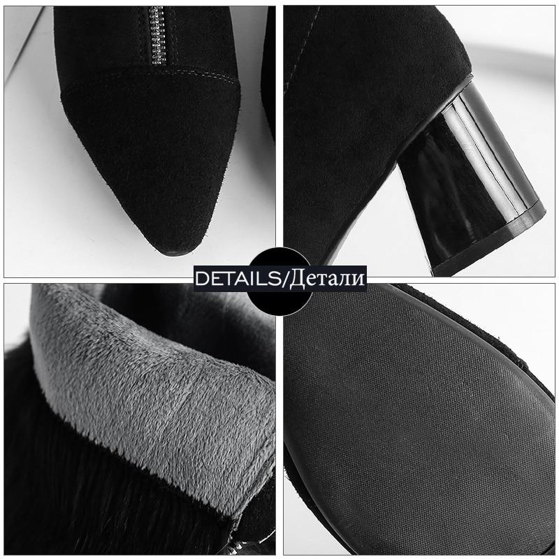 Short Wetkiss Nouveau Chaussures Suede Plush Kid Zip Bout Bottes Femmes Mi D'hiver Fourrure Épais Haute 2018 mollet Talons Boot Femme Plush gray Black Pointu Femelle HvWrq1HwF