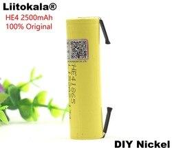 Liitokala 100% New Original HE4 18650 Rechargeable li-lon battery 3.6V 2500mAh Battery 20A 35A discharge + DIY Nickel sheet