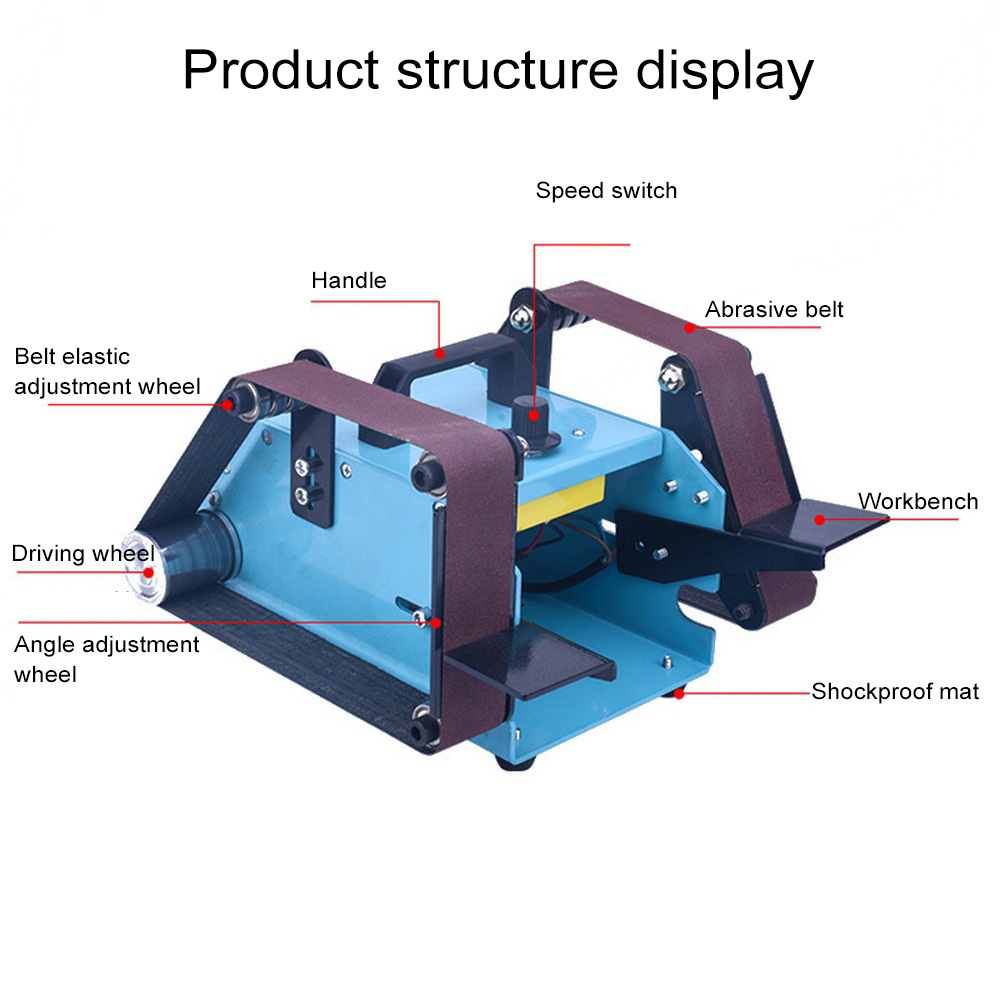 950W 220V Multi function Electric Belt Sander Desktop Double head Belt Sanding Grinding Machine Polishing Tool