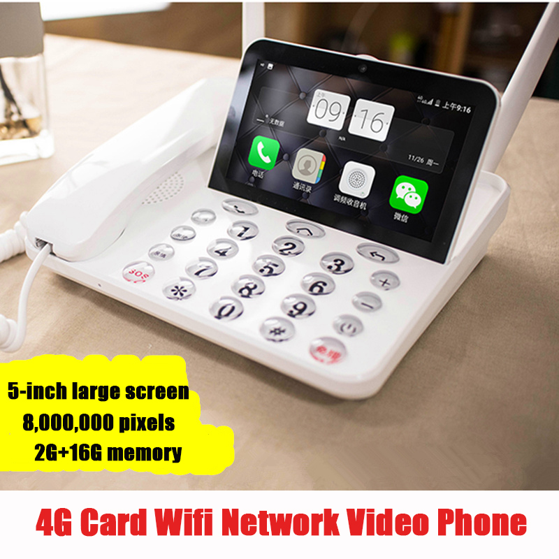 Dual SIM 4G Wireless Phone Smart Network Video Telephone With Andrews Wifi Bluethooth FM Radio For Home Office Bussiness Old Man