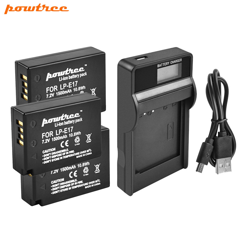 Powtree 1500mAh LPE17 LP E17 LP-E17 Battery & LCD Charger For Canon EOS 200D M3 M6 750D 760D T6i T6s 800D 8000D Kiss X8i L1