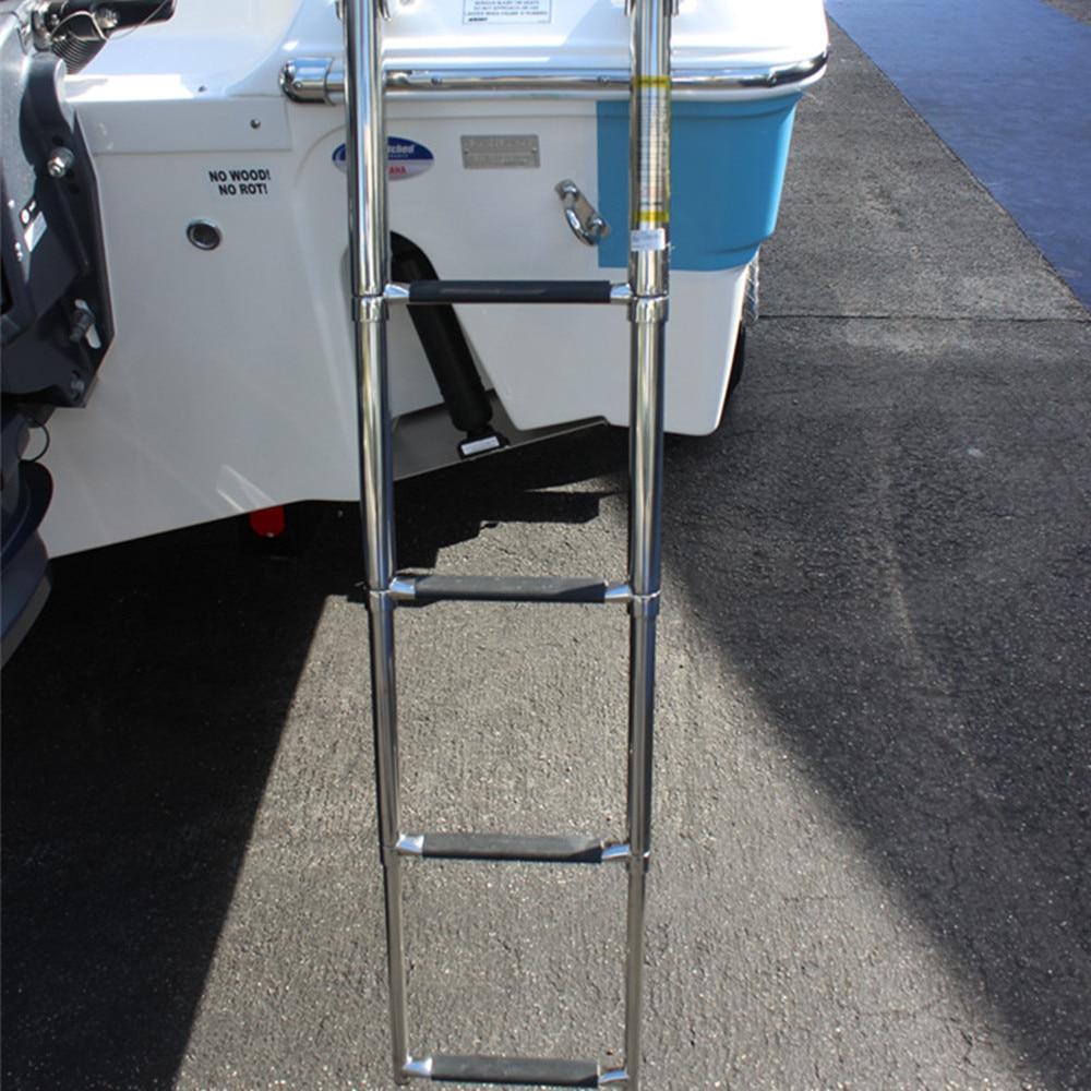 4 Steps Marine Boat Stainless Steel Telescoping Ladder Deck Outboard Swim Platform