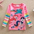 АККУРАТНЫЕ Оптовая новый 2016 baby girl одежда дети my little pony печатные мультфильм девочка Футболка 100% хлопок с длинным рукавом футболка G670 #