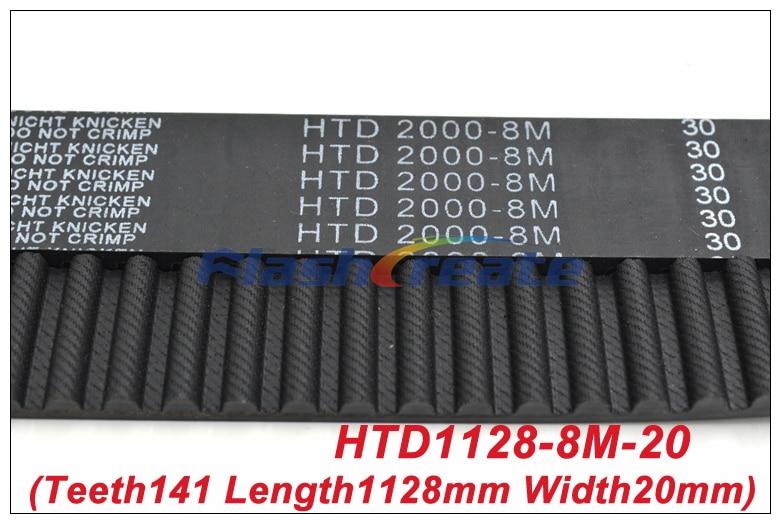 1pcs HTD8M Belt 1128 8M 20 Teeth=141 Length=1128mm Width=20mm 8M Timing Belt Rubber Closed Loop Belt 1128 8M S8M Timing Pulley belts rubber timing belt belt timing -