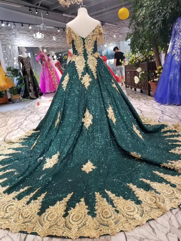 2019 Vintage longue robe de bal paillettes brillant or délicate Appliques robe de bal vert foncé (Blings tomber est Normal) pour la fête - 3