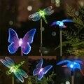 Solar Camino LED que cambia de Color de Luz Al Aire Libre Jardín Lámpara Del Punto Del Césped Del Paisaje Del Acero Inoxidable de la Libélula de La Mariposa de la Forma del Pájaro