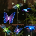 Solar LED Path Color-changing Light Outdoor Garden Lawn Landscape Stainless Steel Spot Lamp Dragonfly Butterfly Bird Shape