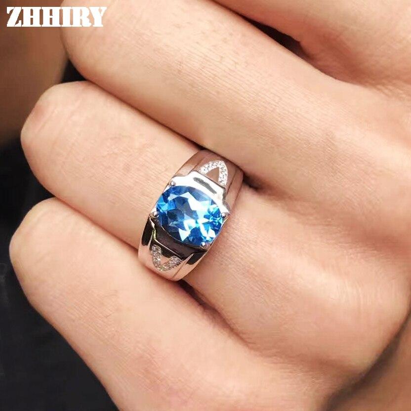 Men Rings Genuine Natural Topaz Gem Man Real 925 Sterling Silver Precious Blue Gemstone Fine Jewelry