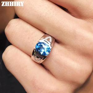 Fine-Jewelry Rings Topaz Gemstone 925-Sterling-Silver Natural Genuine Real Blue Man Precious