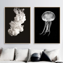Jellyfish White Liquid Nordic Posters And Prints Wall Art Canvas Painting Black Pictures For Living Room Decor