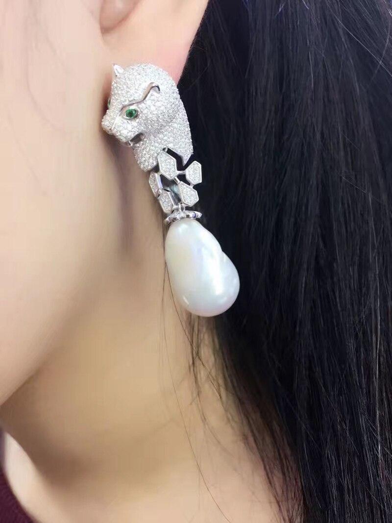 Baroque naturel eau douce perle dangle boucle d'oreille léopard boucles d'oreilles goutte 925 en argent sterling avec zircon cubique bijoux de mode