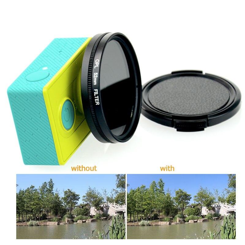 Tekcam action Cámara 52mm lente CPL filtro Polarizador Circular para xiaomi yi/yi 4 k/xiaomi yi 4 k más lente de la cámara