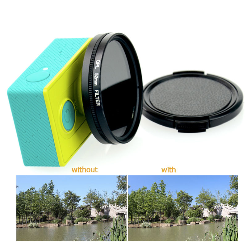 Tekcam action kamera 52mm CPL objektiv-filter Zirkular Polfilter Für Xiaomi yi/yi 4 karat/xiaomi yi 4 karat plus Kamera-objektiv-schutz