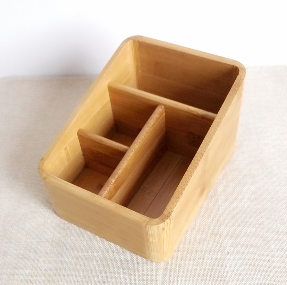 4 grids carbonized bamboo table sundries storage office supplies holder building bamboo furniture