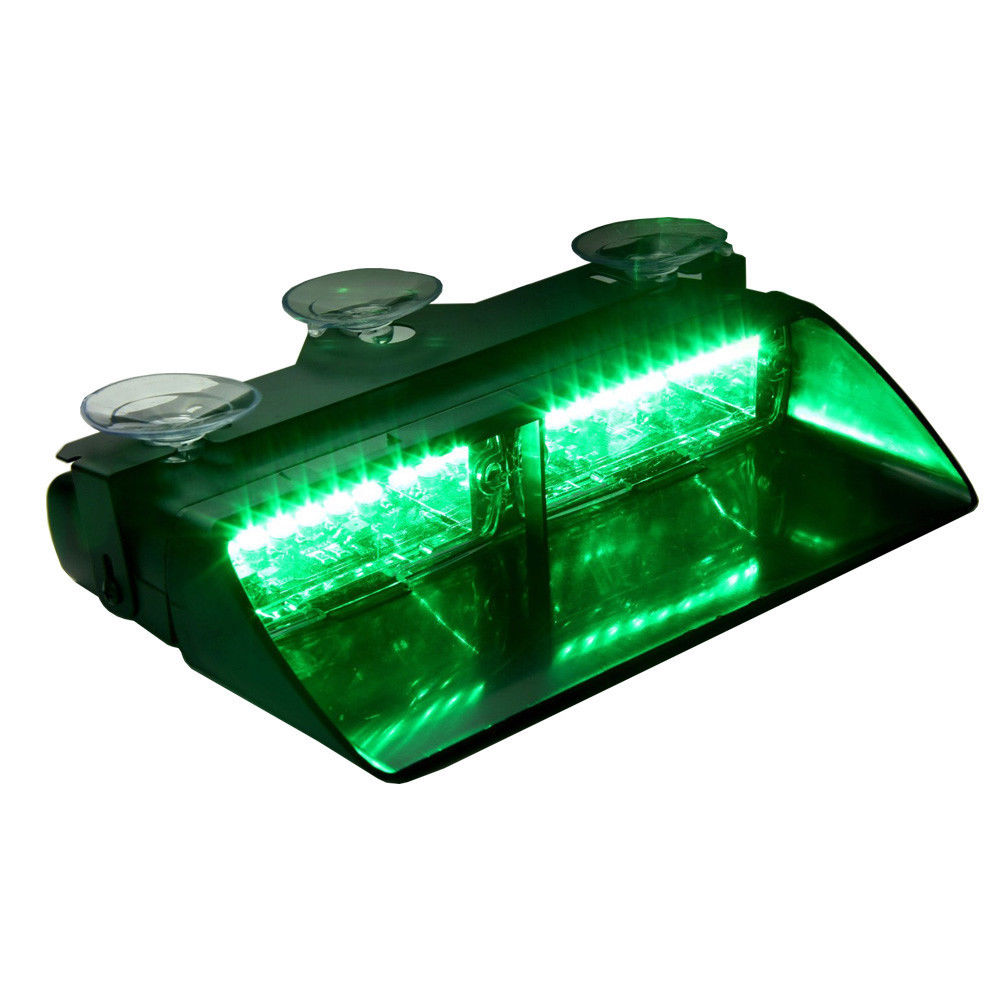 CYAN SOIL BAY Green 16 LED 16W Emergency Car Boat Truck Auto SUV Dashboard Dash Strobe Lights