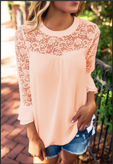 White Lace Women T Shirt Tops 5