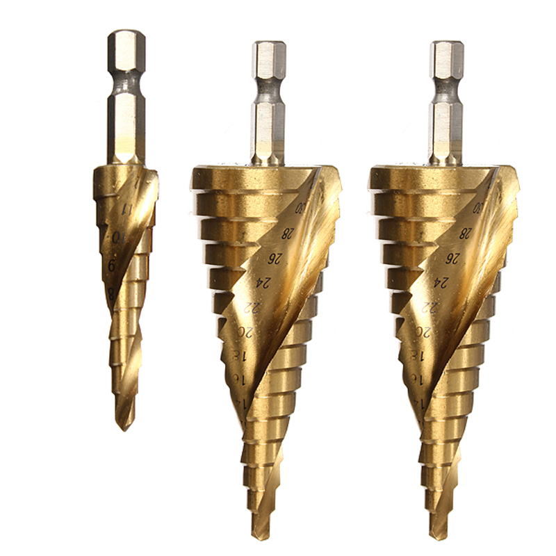 Haute qualité ! 3pcs HSS Spiral Grooved Step Drill Drills Bit 4mm à - Foret - Photo 3