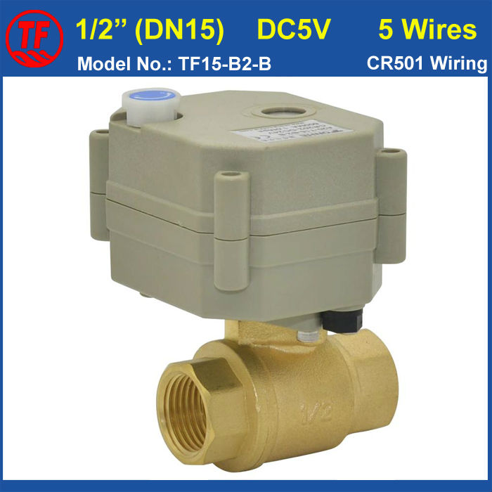 ФОТО TF15-B2-B NPT/BST 1/2'' Brass DN15 Motorized Valve With Manual Override DC5V 5wires With Signal Feedback For Flow Control