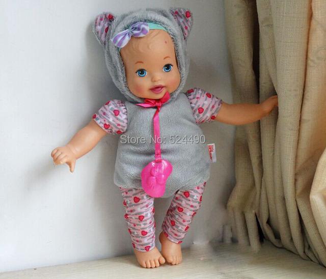 33 cm pequeno mamãe Up Cutie renascer boneca coelho / cinza de pelúcia chapéu roupas mamilo / brinquedo de presente de aniversário