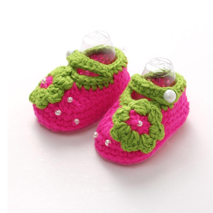ARLONEET Baby Shoes Girl Boy Soft Crochet Handmade Knit Shoes 2018 kids cute Flower Sole Walking Shoes for baby