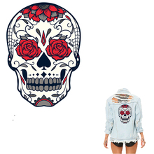 COSBILL Red Rose Skull Patches For Clothing A-level Washable Diy Iron On Transfers Adult T-shirt Accessory Sticker Y-031