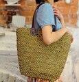 Bolsa de palha 2015 Nova Moda Quente do Verão Praia Sacos de Tecido Luz Material do Saco Das Mulheres Frete Grátis A1142